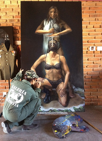 "Isis Rodriguez painting ""The Plan"""