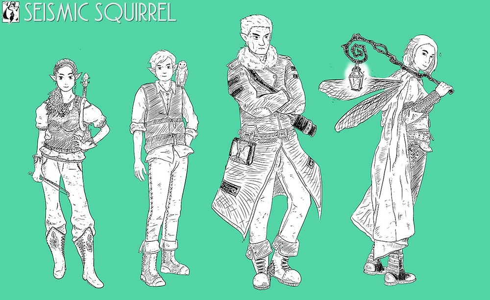 Early concepts of Somi, Tazu, Buffit, and Delve by Yatdzkr