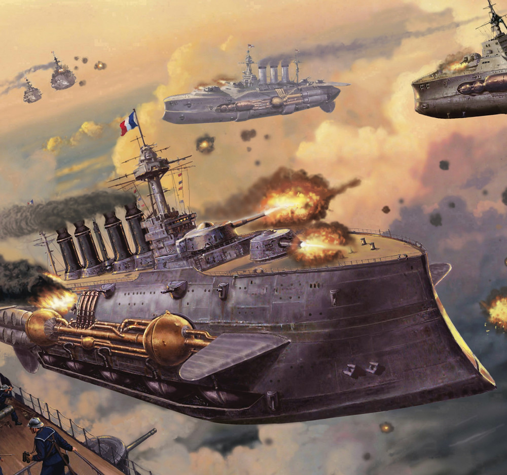 Leviathans, flying airships fighting, French.