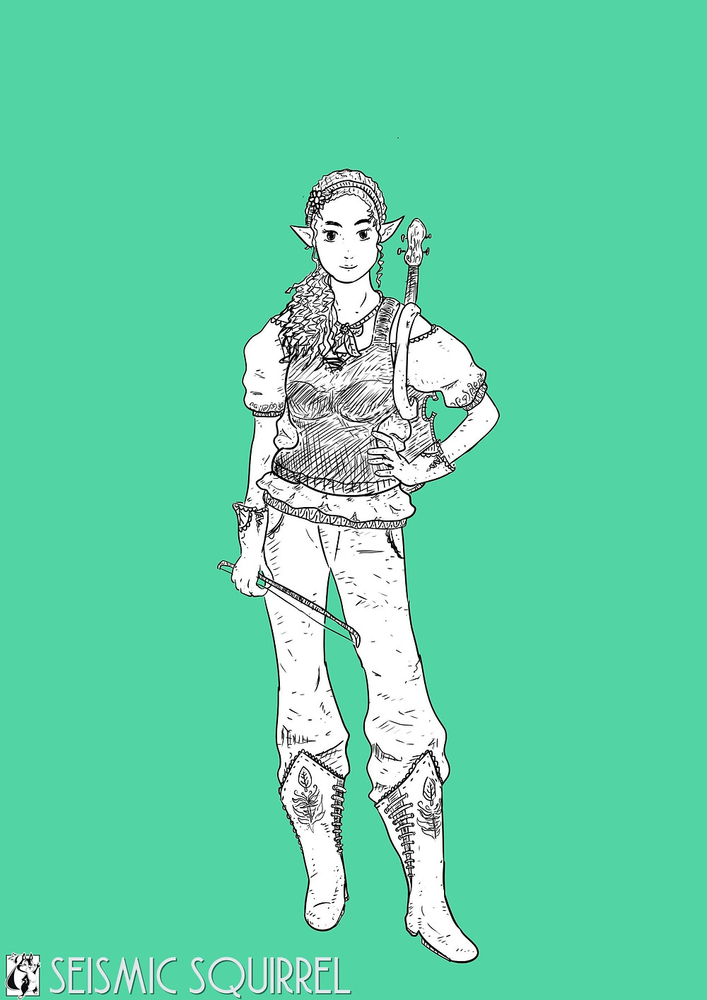 Somi, drawn, initial concept.