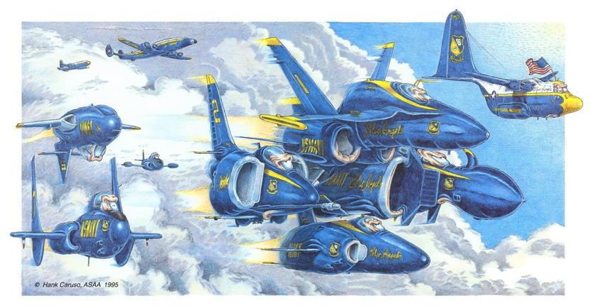 Hank Caruso aircraft caricature.