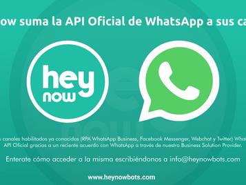 Hey Now suma la API Oficial de WhatsApp