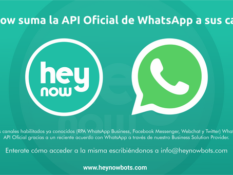 Hey Now suma la API Oficial de WhatsApp