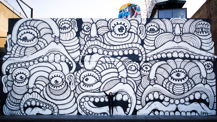 Amara Por Dios paints the Village Underground wall in London