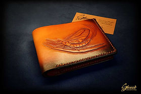 Custom Leather Handmade Fly Fishing Wallet Mayfly