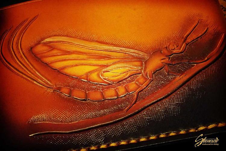 Custom Leather Handmade Fly Fishing Wallet Salmon