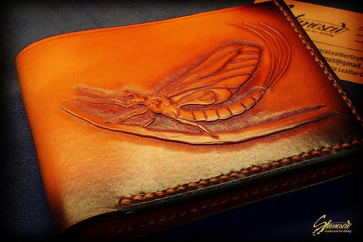 Custom Leather Handmade Fly Fishing Wallet Mayfly