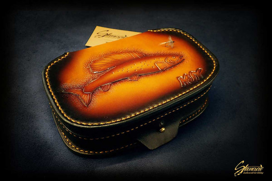 Custom Leather Handmade Fly Fishing Fly Box
