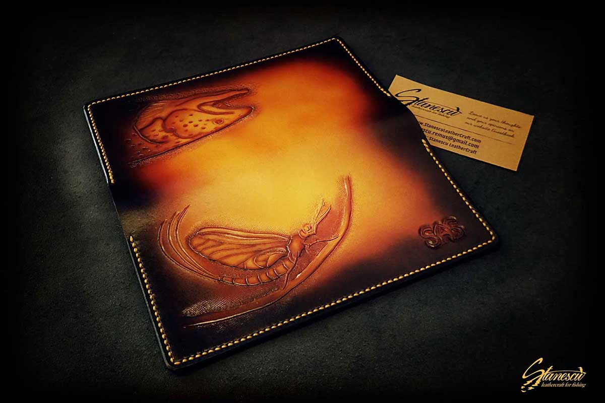 Custom Leather Handmade Fly Fishing Checkbook Cover