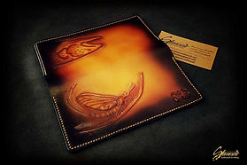 Custom Leather Handmade Fly Fishing Checkbook Cover