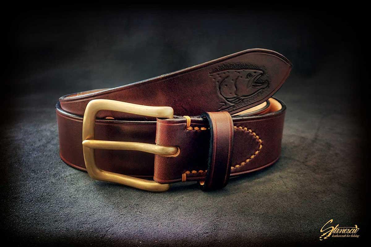 Custom Leather Handmade Fly Fishing Belt Salmon