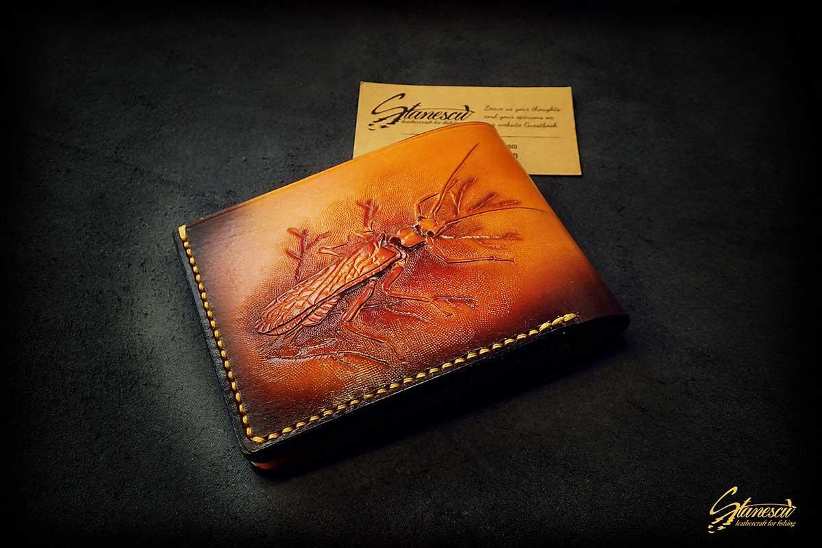 Custom Leather Handmade Fly Fishing Wallet Stonefly
