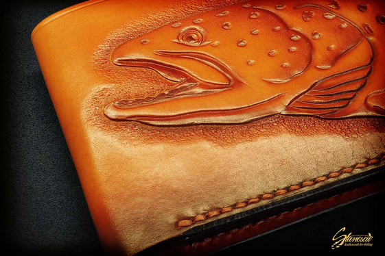Custom Leather Handmade Fly Fishing Wallet Trout
