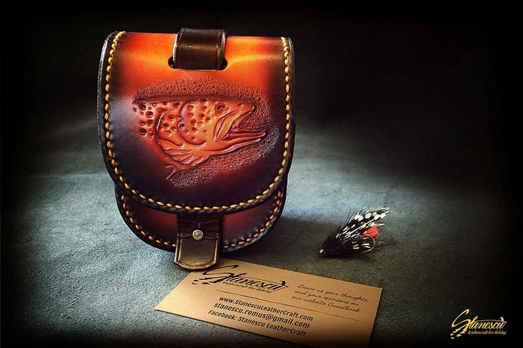 Custom Leather Handmade Fly Fishing Reel Case