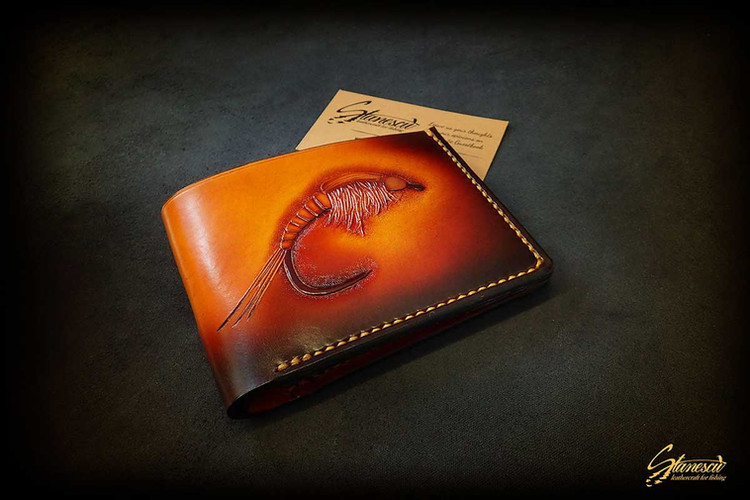 Custom Leather Handmade Fly Fishing Wallet Nymph