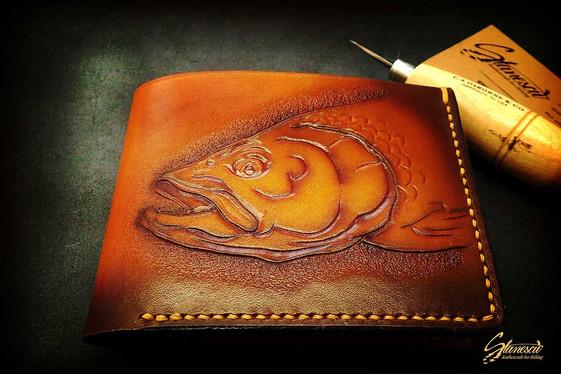 Custom Leather Handmade Fly Fishing Wallet Asp