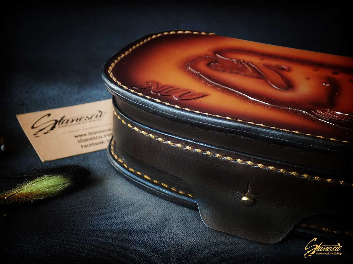 Custom Leather Handmade Fly Fishing Fly Tube Box