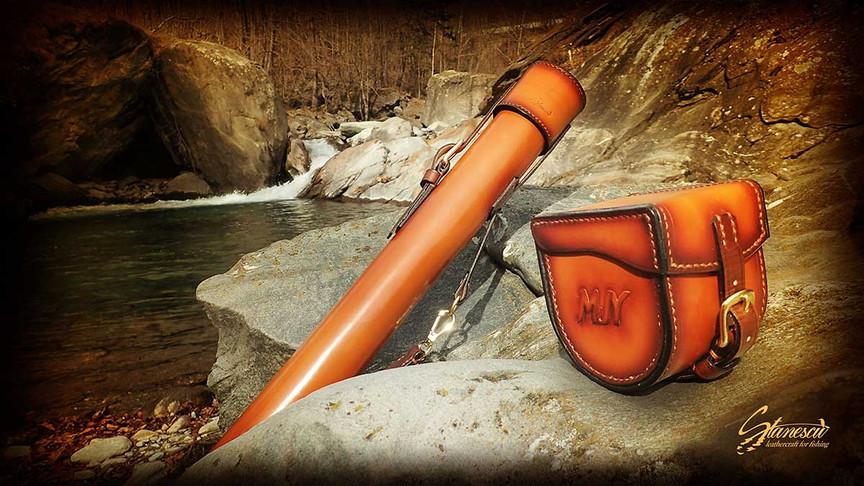 Custom Leather Handmade Fly Fishing Rod Case