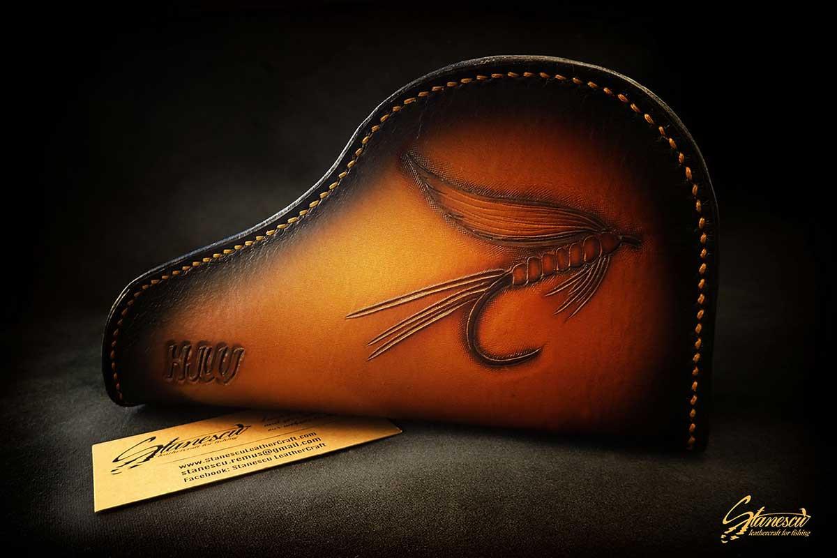 Custom Leather Handmade Fly Fishing Automatic Reel Case