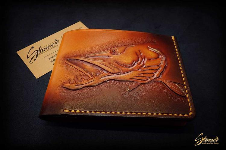 Custom Leather Handmade Fly Fishing Wallet Pike
