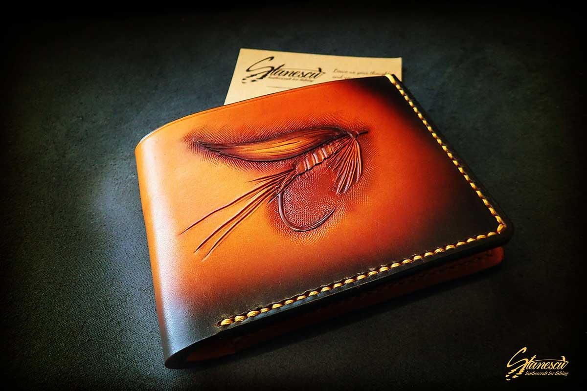 Custom Leather Handmade Fly Fishing Wallet Wet Fly