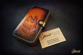 Custom Leather Handmade Fly Fishing Phone Case