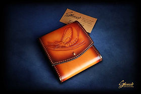 Custom Leather Handmade Fly Fishing Leader Wallet Mayfly