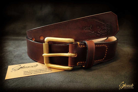 Custom Leather Handmade Fly Fishing Belt Catfish