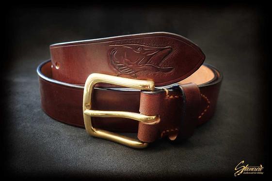 Custom Leather Handmade Fly Fishing Belt Pike