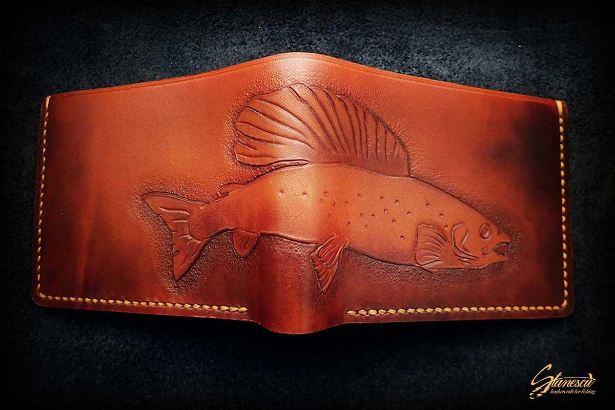 Custom Leather Handmade Fly Fishing Wallet Grayling