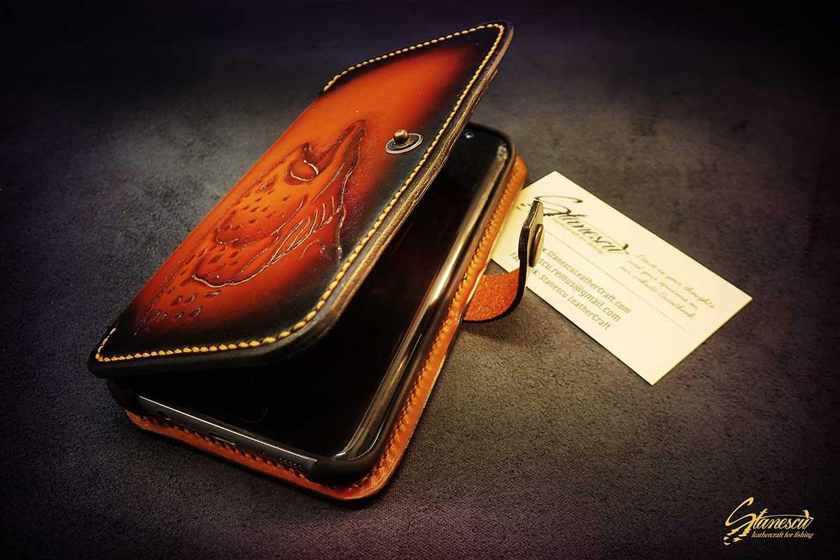 Custom Leather Handmade Fly Fishing Phone Case