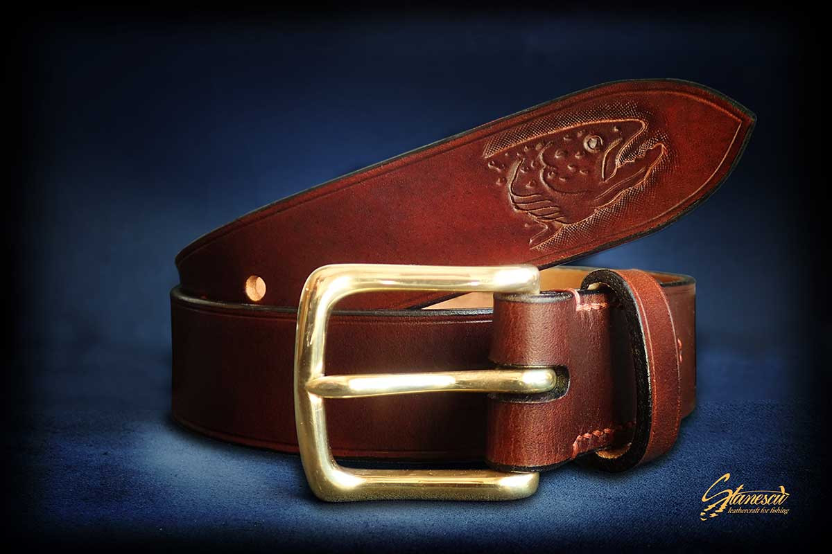 Custom Leather Handmade Fly Fishing Belt Trout