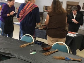 Having a great time in the gourd basket weaving session with Artist Toni Best!