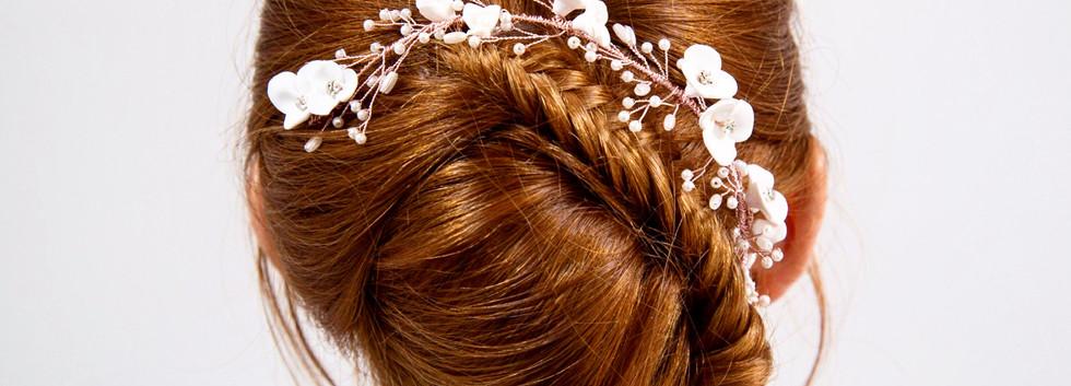 Rose Gold Flower Hair Vine