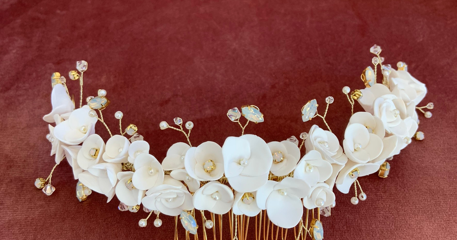 Gold Hair Vine with White Opals