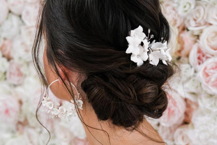 Bride earrings and pins