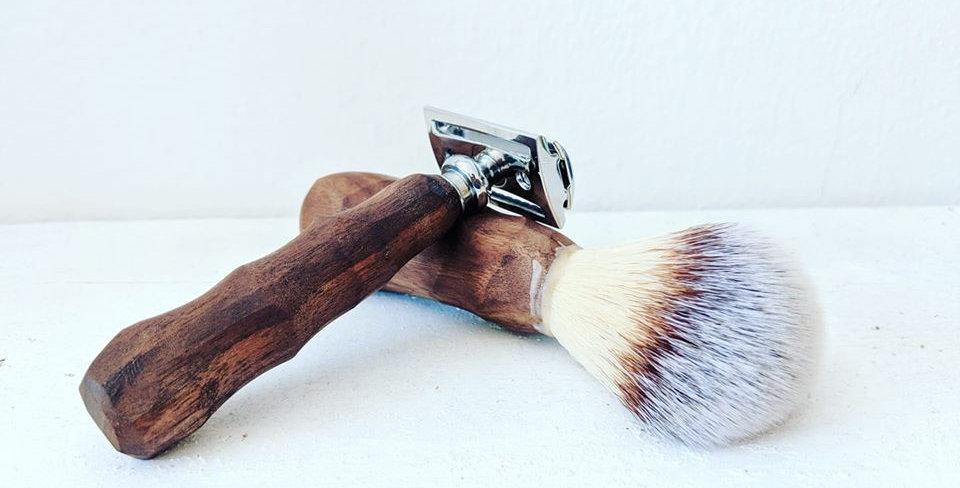 Hand carved Shaving Kit