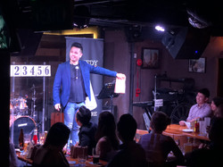 Comedy magician Adrian Saw at Shaggers i