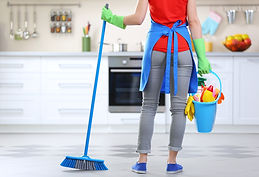 Cleaning concept. Woman with floor mop a