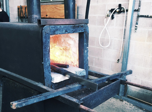 One of three hand made forges in the shop