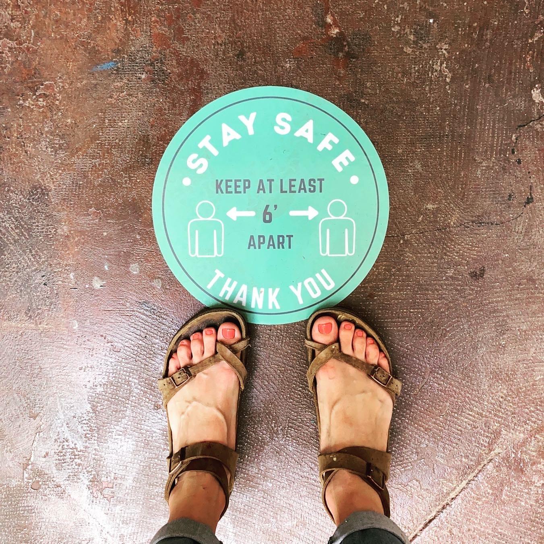Safely Social floor sticker