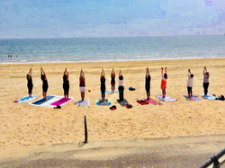 Beach yoga for hen party
