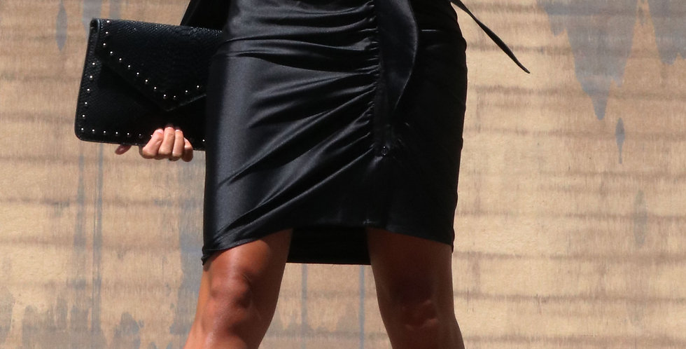Solange Button Down Satin Mini Dress