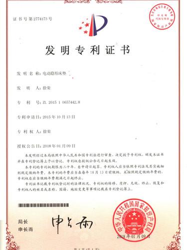 Electric Adjustable Mattress Certificate