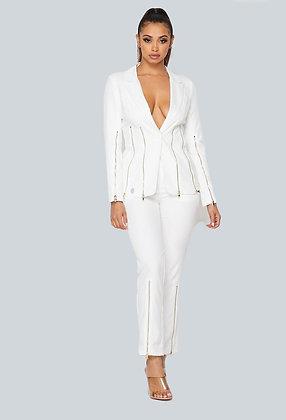 Zipped in White Pants Set