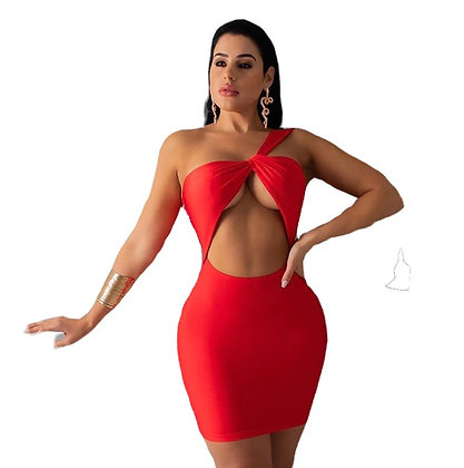 Birthday Girl Red Satin Cut Out Mini