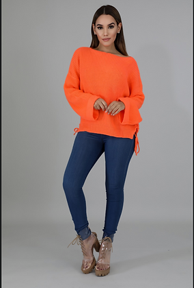 Knitted In Orange Braided Sweater