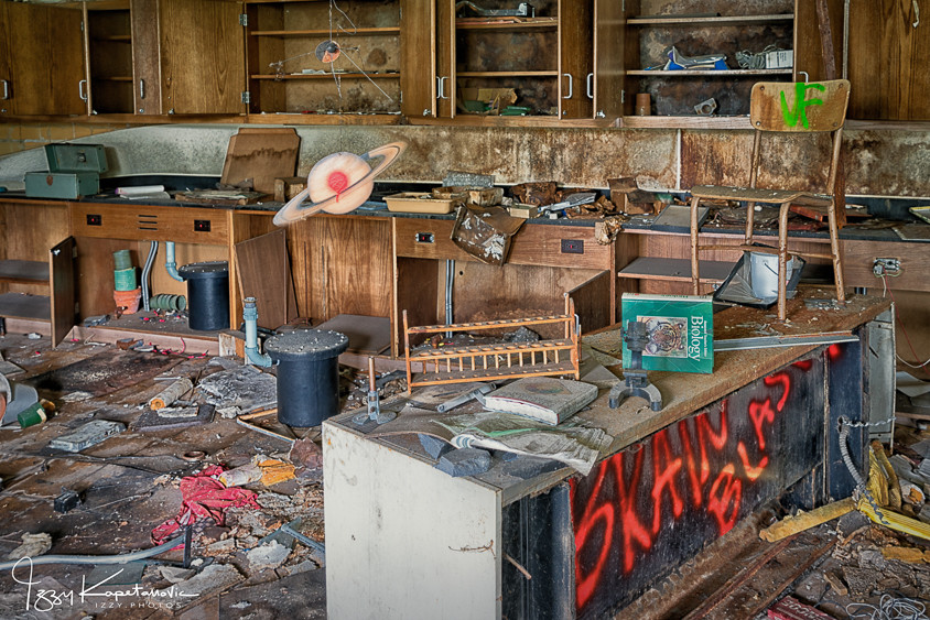 Science room at abandoned Horace Mann school