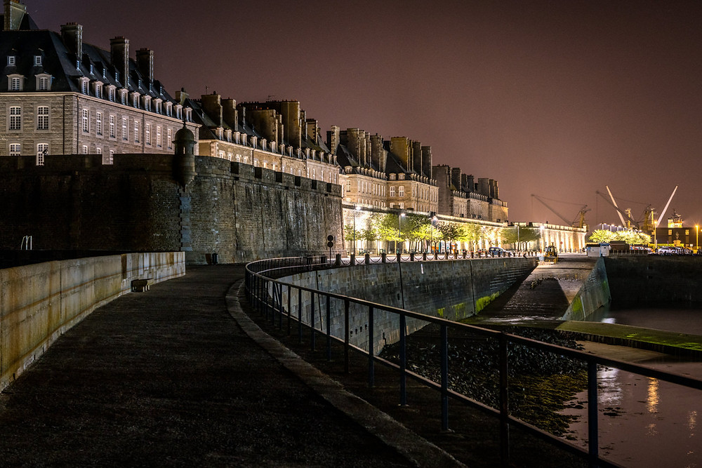 Outside of the walled city of St. Malo at night