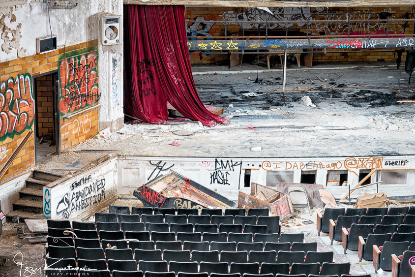 Auditorium at abandoned Horace Mann school